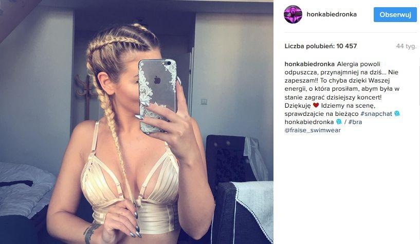 Honorata Skarbek i jedno z jej zdjęć na Instagramie