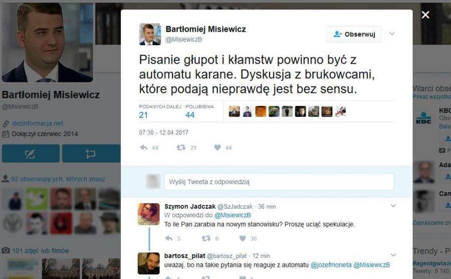 Bartłomiej Misiewicz na Twitterze