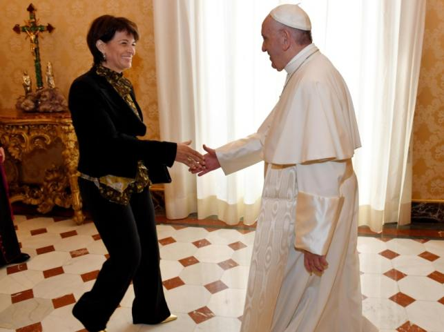 Doris Leuthard i papież Franciszek