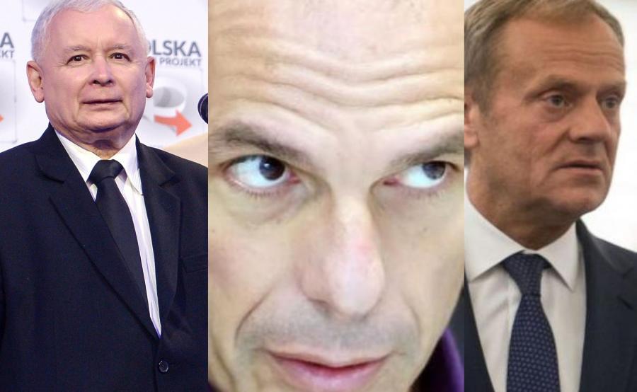 Jarosław Kaczyński, Janis Warufakis, Donald Tusk