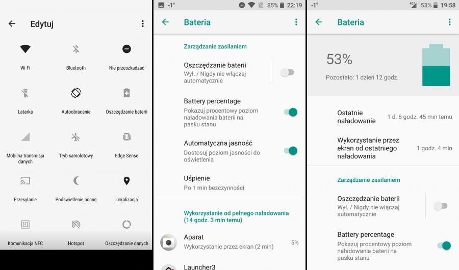 HTC U11 Life - tryb nocny, bateria