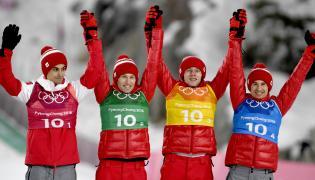 Polacy (od lewej): Kami Stoch, Dawid Kubacki, Stefan Hula i Maciej Kot