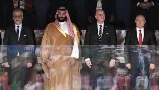 Salman Bin Ibrahim Al-Khalifa, Mohammad bin Salman, Gianni Infantino i Władimir Putin