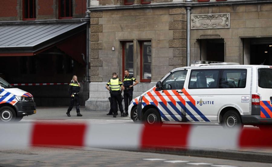 Policja na dworcu w Amsterdamie