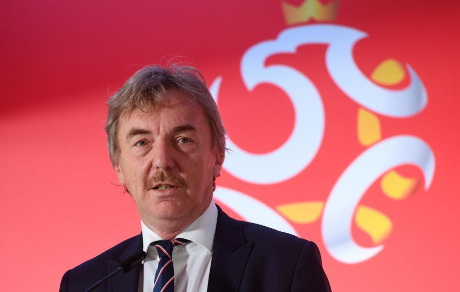 Prezes PZPN Zbigniew Boniek podczas konferencji prasowej ,,Inicjatywy szkoleniowe PZPN\'