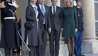 Isabelle Brais  Francois Legault oraz Emmanuel i Brigitte Macronowie