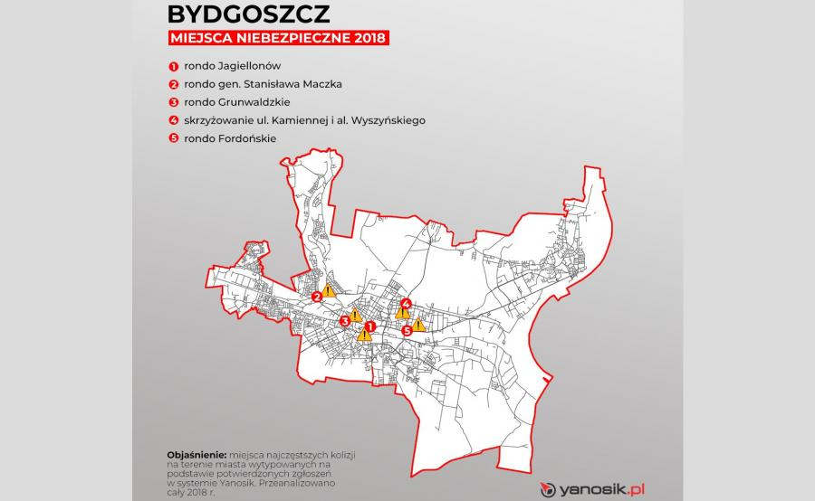 5 najbardziej niebezpiecznych miejsc w Bydgoszczy