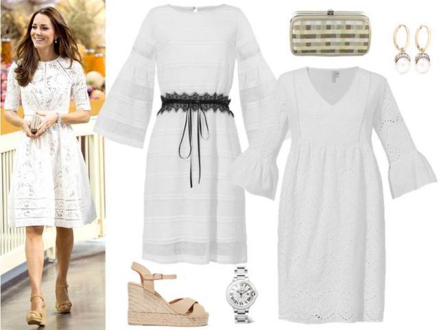 Modne zestawy w stylu księżnej Catherine i księżnej Meghan: sukienki - Cotton Club/cottonclub.pl, torebka - Menbur/menbur.pl, koturny, dodatki – TK MAXX