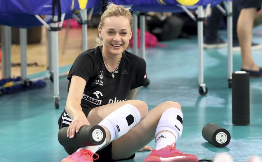 Siatkarka reprezentacji Polski Maria Stenzel podczas treningu w hali Atlas Arena