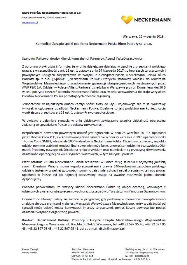Oświadczenie Neckermann Polska