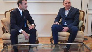 Emmanuel Macron i Ołeh Sencow