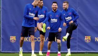 Sergio Busquets, Luis Suarez, Lionel Messi i Jordi Alba