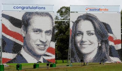 Wykonane z cegieł portrety księcia Williama i Kate Middleton w Horsley Park na zachód od Sydney w Australii