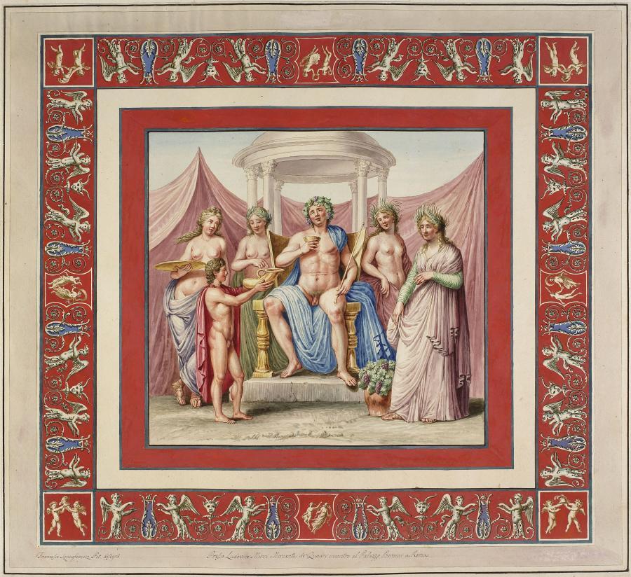 Franciszek Smuglewicz, Vincenzo Brenna, Marco Carloni, Triumf Bachusa, akwarela i gwasz na zarysie akwafortowym, 1776