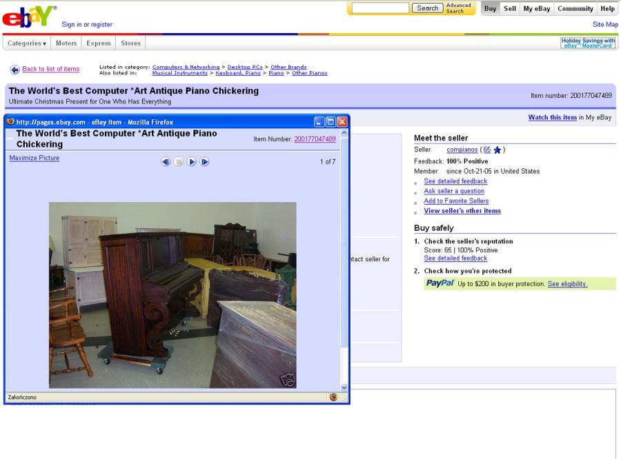 Pianino i pecet w jednym do kupienia na eBay\'u