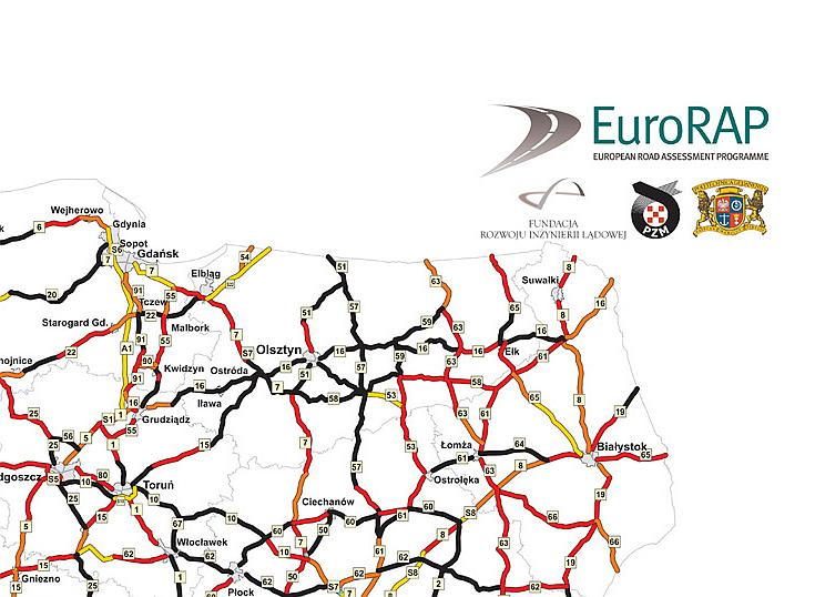 Mapa ryzyka indywidualnego - Polska północno-wschodnia/źródło EuroRAP