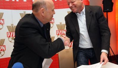 Prezes PZPN Grzegorz Lato i szef Sportfive Andrzej Placzyński