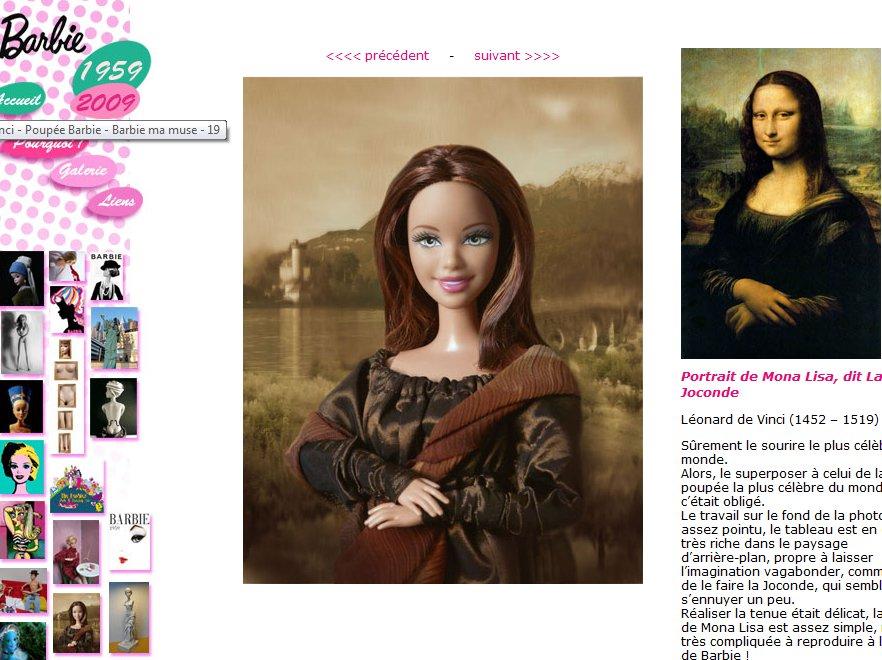 Barbie w roli Mony Lisy i innych wcieleniach inspirowanych sztuką – dzieło Jocelyne Grivaud
