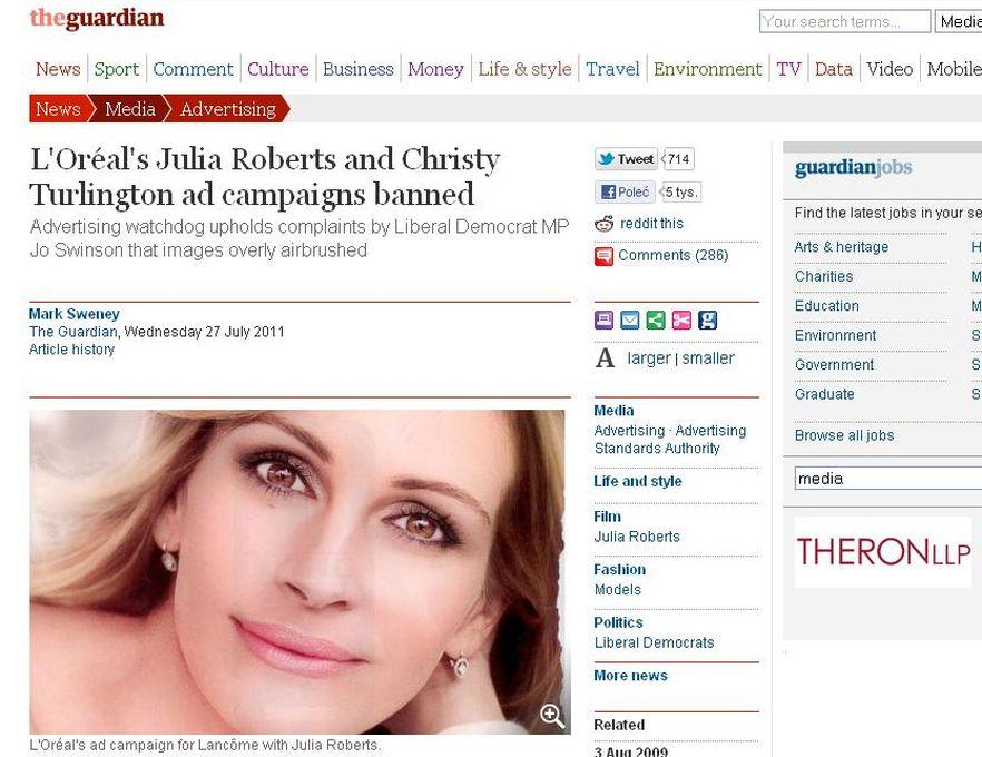 Julia Roberts w zakazanej reklamie