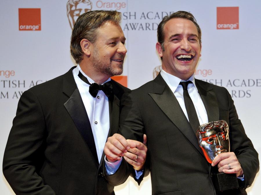 Russell Crow i Jean Dujardin na gali BAFTA