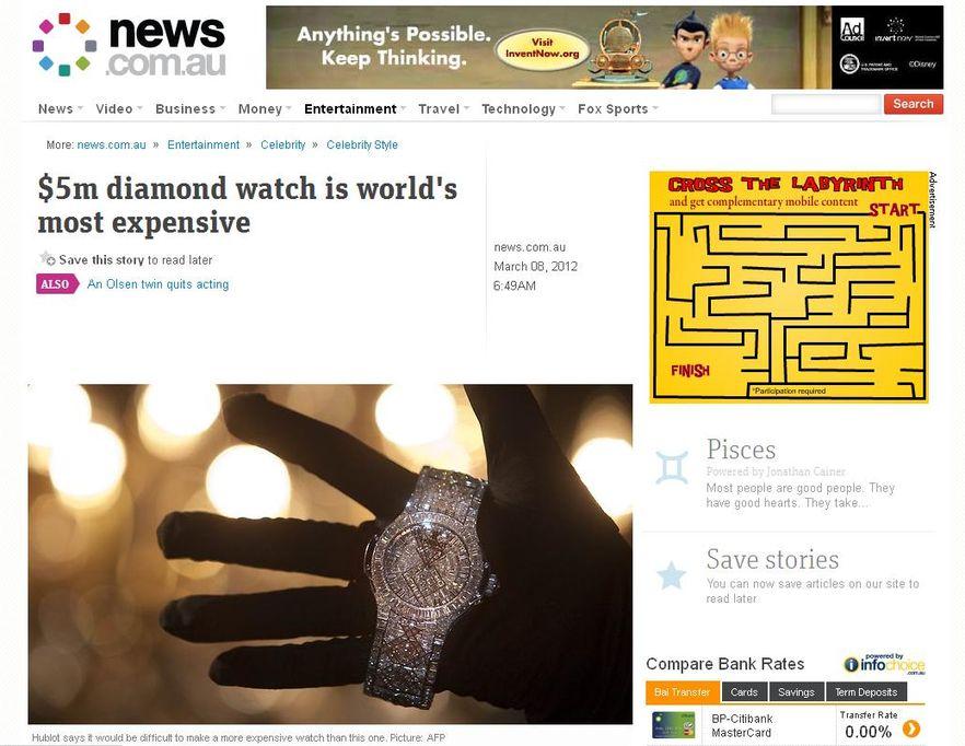 Szwedzka marka Hublot stworzyła najdroższy zegarek świata