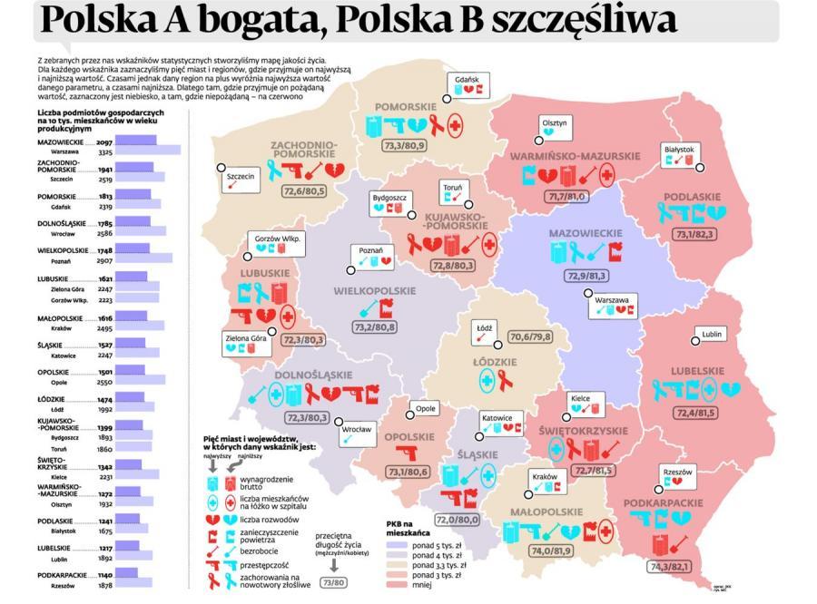 Gdzie w Polsce ludzie są najszczęśliwsi? INFOGRAFIKA