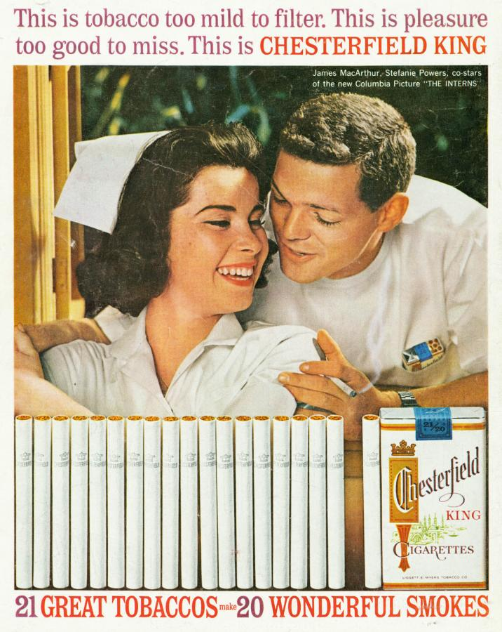 "Papierosy ""Chesterfield, rok 1962"
