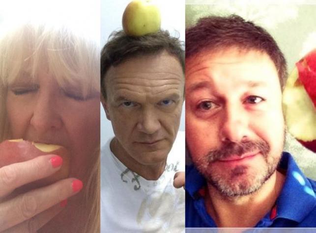 Maryla Rodowicz, Cezary Pazura i Piasek jedzą jabłka
