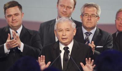 Jarosław Kaczyński w czasie ogłoszenia wyników wyborów do europarlamentu