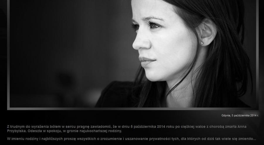 Screen ze strony aktorki Anny Przybylskiej