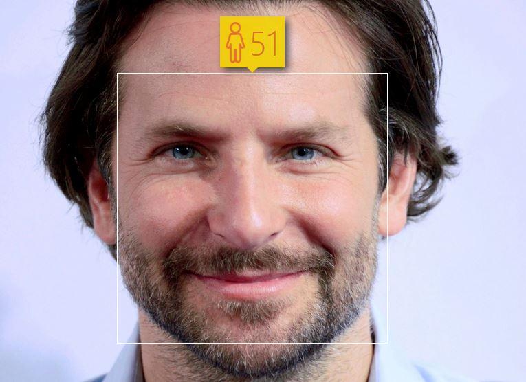 Bradley Cooper i jego wiek według How-Old.net