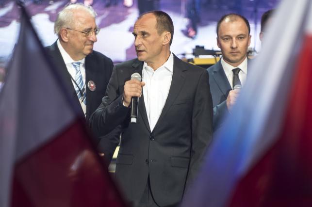 Paweł Kukiz w czasie wieczoru wyborczego: