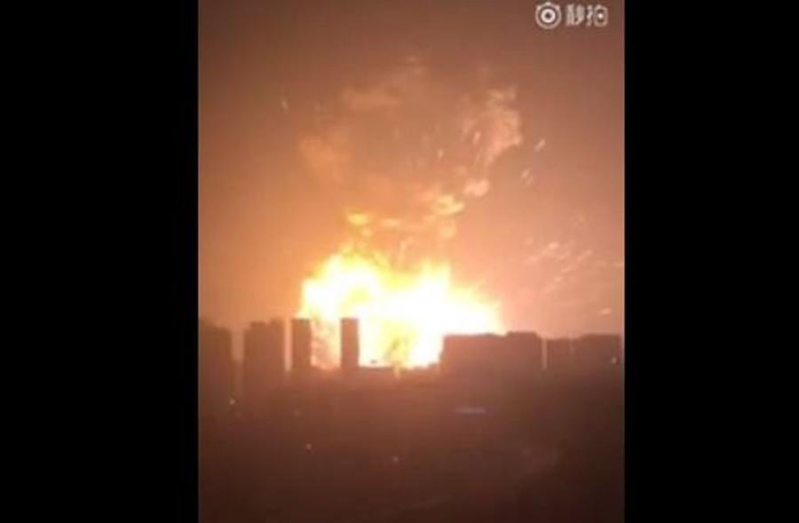 Wybuch w mieście Tiencin w Chinach