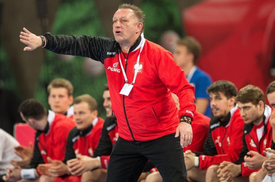 Trener reprezentacji Polski Michael Biegler podczas meczu z Ukrainą w turnieju piłkarzy ręcznych Christmas Cup we Wrocławiu