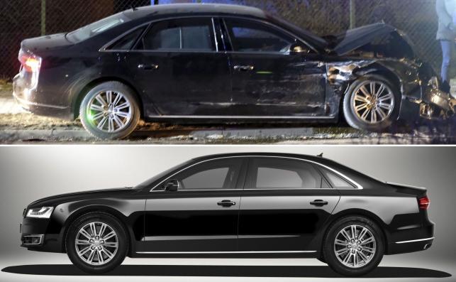 Audi A8 L Security - pancerna rządowa limuzyna rozbiła się o drzewo w Oświęcimiu