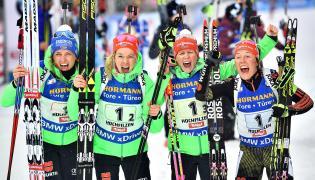 Vanessa Hinz, Maren Hammerschmidt, Franziska Hildebrand i Laura Dahlmeier